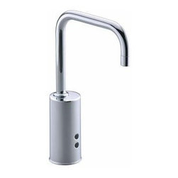 Kohler - Kohler K-13472-CP Polished Chrome Touchless Gooseneck Touchless - Gooseneck Touchless™ Deck-Mount Faucet with Temperature Mixer Insight technology features an adaptive infrared sensor that gathers and analyzes the surrounding area upon installation. After recording these details, Insight calibrates the sensor to filter false triggers and optimize the faucet s operation.  Insight(TM) adaptive infrared technology Waterproof shroud protects electronic components Water-saving 0.5 gpm aerator  Temperature control handle option Minimum 3-year battery life - 2 AAA batteries