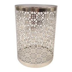 Metal Pillar Holder Flower Hurricane, Large - Keep the dining centerpiece simple. I think lining up three of these metal hurricanes down the center of the dining table would be just enough sparkle. Place a pillar candle in each for ambience and watch them glow after dark. I imagine the shadows cast from the patterned cutout will be stare worthy.