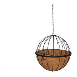 Sphere Hanging Basket - Part hanging planter, part object d'art, the Sphere Hanging Basket is an eye-catching way to show off the beauty of an ornamental vine, a spilling flower arrangement or artificial plants. This round globe is made up of tubular steel elements that curve in simple, clean lines. A solid black rail circumnavigates the planter, and the hanging basket opens right at this joint. This makes it very easy for you to plant inside of the basket and water, prune and otherwise tend to the plants as they grow. The hanging basket is suspended from a durable, S-shaped hook and a simple 19-inch hanging chain. Measuring 12 inches in diameter, the planter is petite and will look attractive used as a solitary accent to the decor, in pairs or in long lines. On the inside of the planter, you'll find a real coconut coir liner, a breathable materials that helps plants grow.