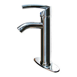 Renovators Supply - Faucets Chrome Centerset Faucet 10 7/16'' H - Centerset Faucets: ROUND body and round base. Our single lever faucet is constructed of  solid brass  & has a  tarnish resistant chrome plated finish.  It boasts a  top rated 500,000 cycle cartridge.  Designed with an elegantly curved spout & lever, it definitely has a modern flair! Supply lines, centerset plate and mounting hardware included. Measures: 10 7/16 in. high x 5 1/2 in. from spout to counter.