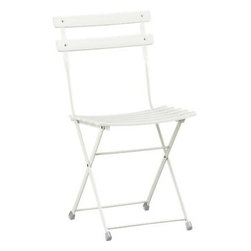 Pronto White Folding Bistro Chair - Extra seating is a must for parties at home, especially when there's a spectator sport involved. These chairs fold up for easy storage, work indoors or out, and are similar to the chairs used in the boxes at Keeneland, one of the most gorgeous racetracks in the world.