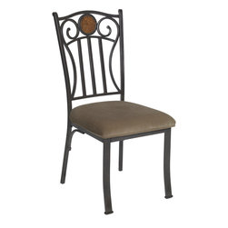 Powell - Powell Abbey Road Side Chair in Bronze (Set of 2) - Side chair in bronze belongs to abbey road collection by Powell. The abbey road side chair has a stylish design and style. The chair features a sturdy straight lined metal frame. A soft neutral fabric covers the plush seat. The chair back is accented with two swirls and a round, circle MDF accent. Perfect for accenting the abbey road dining table!