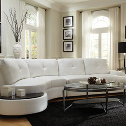 Coaster - Talia Sectional, White - Simple and sleek. Our Talia sectional is a nice addition to any modern living room. Wrapped in a luxurious white Bonded Leather Match with full foam seating, this sectional was crafted for comfort. Featuring attached seat and back cushions, a sinuous spring base and a webbed back. Keep everything within an arm's reach with a built-in table top at the end of the sectional.