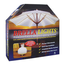 """Blue Star Group - BRELLA LIGHTS - Patio Umbrella Lighting System With Power Pod - (6 Rib) - Keep The Party Going Long After The Sun Goes Down """" with the innovative outdoor lighting that easily attaches to the ribs of any 6-rib patio umbrella.   In minutes, BRELLA LIGHTS creates an alluring festive or romantic atmosphere to Set The Mood"""" for any after dark patio or deck activity.  A one-time installation will provide the right amount of soft, subtle light at tabletop - On-Demand.  No need for recharging, costly battery replacement or light fixture storage.  Our POWER POD"""" feature clips to the pole and offers additional electrical outlets for your favorite appliances.  With the convenience of our appealing IN-LINE light design and the Power Pod"""" receptacle at tabletop you can read, watch TV, listen to music, or blend a smoothie while enjoying late night gatherings with family and friends.  BRELLA LIGHTS are designed to stay on the umbrella when it is closed, opened, or stored.  If any of the 160 bulbs burn out the rest of the lights remain lit.  U.L. Listed For Outdoor Use."""