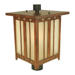 Craftmade - Craftmade Stinson Transitional Outdoor Post Lantern Light X-221-5293Z - Mission influencing and classic Arts and Crafts flair captivate the eye, drawing it toward this handsome Craftmade outdoor post lantern light. From the Stinson Collection, the flat roof has been topped with a cubic finial that compliments the geometric patterning throughout the frame. This post light features amber frost glass panels and a rick Teak finish.
