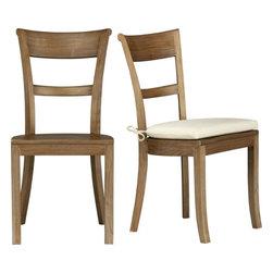 Kipling Grey Wash Side Chair and Ivory Cushion -