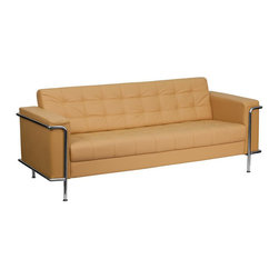 Flash Furniture - Hercules Lesley Series Contemporary Light Brown Leather Sofa with Encasing Frame - This attractive light brown leather reception sofa will complete your upscale reception area. The design of this sofa allows it to adapt in a multitude of environments with its tufted cushions and visible accent stainless steel frame.
