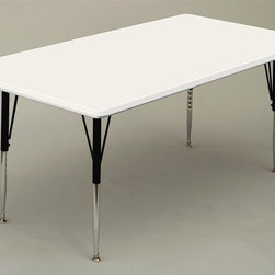 Correll Inc - Rectangular Activity Table in Grey Granite (3 - Finish: 30 in. x 60 in./Short/GreenResist stains and damage from food, juices, crayons, paint, and even permanent markers. Light weight, scratch and impact resistant. Colors go all the way through. Not wear or scrape off. Free standing, full perimeter welded steel frames. Legs attach to frames with 3 bolts each. Free speed wrench for fast height adjustments. Standard legs adjust from 21 in. to 30 in. in 1 in. increments. Short legs adjust from 16 in. to 25 in. in 1 in. increments. Pictured in Grey Granite. 30 in. W x 60 in. L