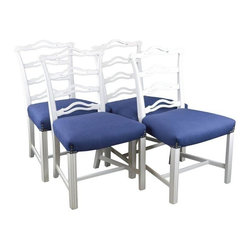 Used Restored Chippendale Style Dining Chairs -Set of 4 - Four ribbon-back Chippendale style dining chairs. Newly lacquered white, with new blue linen seats, and nailheads at the corners. A fresh look for an old favorite. Mix them in with other chairs for a contemporary look in your dining room. Well-built vintage chairs, classic style/modern color.