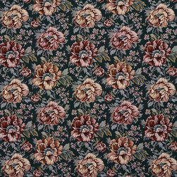 Green And Red Floral Tapestry Upholstery Fabric By The Yard - This traditional tapestry upholstery fabric has antique written all over it. This fabric is incredibly durable, and will last for years!