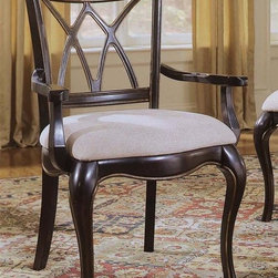 Hooker Furniture - Preston Ridge Double X-Back Arm Chair - Set o - Set of 2. Traditional style. Upholstered fabric seat. Made from hardwood solids with cherry, mahogany and white ash burl veneers. Distinctive black rub-through with rich contrasting cherry finish. Arm narrowest point length: 17.13 in.. Arm widest point length: 19.75 in.. Arm height: 25.13 in.. Seat depth: 19 in.. Seat height: 20.13 in.. Overall: 26 in. W x 24 in. D x 40 in. H