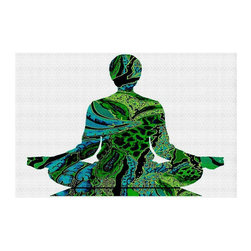 DiaNoche Designs - Silhouette Man Woman YOGA Area Rug - Finish off your bedroom or living space with a Woven Area Rug with a Chevron pattern weave from DiaNoche Designs. The last true accent in your home that really ties the room together. Maybe its a subtle rug for your entry way, or an artisti conversation piece in your living area, your decorative floor art will continue to dazzle for many years. MADE IN THE USA!!  Each purchase supports the artist who created the image.  1/4 inch thick. Each rug is machine loomed, washed and pre-shrunk, printed, then hemmed on the edges.   Spot treat with warm water or professionally clean. Dye Sublimation printing adheres the ink to the material for long life and durability.