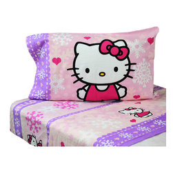 Franco Manufacturing Company INC - Hello Kitty Flannel Twin Sheet Set Snow Ribbons Bedding - FEATURES: