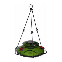 Nature's Way - Modern Top Fill Green - The Modern Hummingbird Feeders are made of beautiful, hand-blown glass and feature Easy Fill and Clean feeders that have 4 inch wide openings for easier filling and cleaning Removable flowers, lid, and decorative hanging basket/perching ring are easily re
