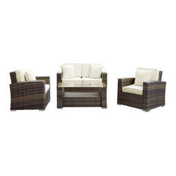 "LexMod - Carmel 4 Piece Outdoor Patio Sofa Set in Brown White - Carmel 4 Piece Outdoor Patio Sofa Set in Brown White - Sojourn to a conducive atmosphere of proper proportions with this sleek Carmel outdoor set. Vividly express yourself as you attune to your surroundings and develop positive rapport among friends and family. Appropriate times begin now with a modern touch of adventure. Set Includes: Four - Carmel Outdoor Wicker Patio Throw Pillows One - Carmel Outdoor Wicker Patio Coffee Table One - Carmel Outdoor Wicker Patio Loveseat Two - Carmel Outdoor Wicker Patio Armchairs Synthetic Rattan Weave, Powder Coated Aluminum Frame, Water & UV Resistant, Machine Washable Cushion Covers, Easy To Clean Tempered Glass Top, Assembly Required Coffee Table Dimensions: 43""L x 23.5""W x 18""H Armchair Dimensions: 29.5""L x 31.5""W x 31.5""H Loveseat Dimensions: 29.5""L x 53""W x 31.5""H Seat Height: 12""HBACKrest Height: 27.5""H Armrest Dimensions: 5""W x 22""H Cushion Depth: 4""H Overall Product Dimensions: 112""L x 61""W x 31.5""H - Mid Century Modern Furniture."