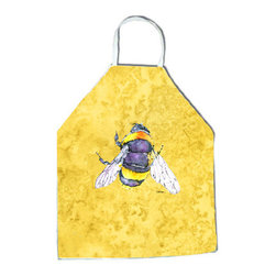 "Caroline's Treasures - Bee on Yellow Apron 8852APRON - Apron, Bib Style, 27""H x 31""W; 100% Ultra Spun Poly, White, braided nylon tie straps, sewn cloth neckband. These bib style aprons are not just for cooking - they are also great for cleaning, gardening, art projects, and other activities, too!"