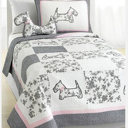 None - Scottie Pup Quilt Set - Nothing can ever be cuter than this stylish french dog design quilt set with embroidery patchwork patterns of gingham and floral toile embellishing. This set features a patterned border with grey pink trimming in 100-percent cotton.