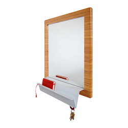 brave space design - MirrorSquared - With mathematical precision, this innovative mirror serves many functions, all of them stylish yet practical. The solid, bamboo-framed mirror has an attachment of powder-coated bent steel, which cleverly forms a square root symbol. That design addition serves as a mail shelf, and the base for five magnetic key hooks. Organize your entryway with the simple addition of this smart piece.