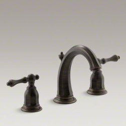 Kelston Widespread Bathroom Sink Faucet, Oil-Rubbed Bronze - Gracious and inviting, Kelston evokes the grandeur of traditional design while delivering outstanding performance. Water flows smoothly from the curved spout of this Kelston widespread sink faucet, while two ergonomic lever handles allow you to precisely control and maintain water pressure and temperature. This faucet is conveniently outfitted with easy-to-install and leak-free UltraGlide™ valves.