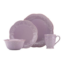 Lenox - Lenox Violet French Perle 4-piece Dinnerware Set - Crafted of stoneware,this violet dinnerware set from Lenox is perfect for everyday use. With its beaded motif resembling beautiful embroidery,the French Perle dinnerware is dressy enough for more formal occasions as well.