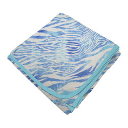 SheetWorld - SheetWorld Flannel Receiving Blanket - Blue Zebra - Made in USA - Receiving Blanket is made from a double layer of the finest 100% cotton flannel material and is reversible. It's finished off with a matching cotton binding. Features a blue zebra print. Perfect blanket for your perfect baby. (matching sheets available)