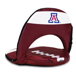 Picnic Time - University of Arizona Oniva Seat Sport Recreational Reclining Seat - Football fans will love this recreational reclining seat that's so lightweight and portable. The Oniva Seat Sport has an adjustable shoulder strap and six adjustable positions for reclining. The seat cover is made of brown polyester and has been designed so that the entire seat looks like a larger than life football! The bottom of the seat is black dimpled PVC so as not to soil easily, the frame is steel, and the seat is cushioned with high-density PU foam, which provides hours of comfortable sitting. The Oniva Sport - Football is great for the beach, the park, or as an indoor gaming seat and makes the perfect gift for fans of the great sport Americans call football!; College Name: University of Arizona; Mascot: Wildcats; Decoration: Digital Print