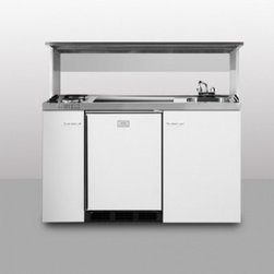 """Summit - C60APSS 60"""" Wide Combination Kitchen in Stainless Steel - SUMMITs C60APS is a 60 inch wide combination kitchen with a 24 inch depth and includes our Space Saving Appliance Station in white powder coated galvanized steel Two sealed electric burners a refrigerator-freezer sink cabinet space and heavy-duty ste..."""