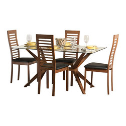 "Aeon Furniture - Greenwich Dining Table Set with Denver Chairs in Cherry - Set includes table and 4 chairs. Greenwich Dining Table. High Quality 10 mm Glass Top. Solid Beech Wood Cherry Finished Base. Comfortably Seats 6 People. CARB Rated. Assembly Required. Base: 24 in. L x 45.5 in. W x 29 in. H. 59 in. L x 35.5 in. W x 29.5 in. H (106 lbs.). Denver Dining Chairs:. Scandinavian Inspired Design Solid Beech Wood Dining Chair with a Ladder Back in a Warm Cherry Finish with Black Leatherette Fire Resistant Padded Foam Seat. CARB Rated. Assembly Required. Seat Height: 18 in.. 19 in. L x 18 in. W x 39.75 in. H (12 lbs.)With its great look and contemporary design, this extendable dining table meets your dining and entertainment needs while enhancing the look of your home.  The table is constructed of a solid beech wood frame, stained in a warm cherry finish.   The self-contained 17.5"" extension leaf easily transforms this table from an intimate piece to the social center of your home. Clearly recognizable for its Scandinavian mid-century modern classic qualities, this high back chair with its slatted ladder design is sure to make a statement.  Constructed from durable cherry stained beech wood with a black leatherette seat, these chairs will add contemporary glamour to your dining room."