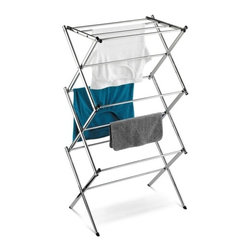 "Chrome Accordion Drying Rack 18 Linear Feet - Honey-Can-Do DRY-01107 Slim Chrome Commercial Drying Rack, Silver.  Dry your clothes naturally with this chrome-finished drying rack. For indoor or occasional outdoor use, the rack is made from a coated steel frame making it sturdy and rust-resistant. This portable rack can be used anywhere such as the laundry room, balcony, porch, bathroom, or kitchen and folds down to 3"" flat for easy storing. The top tier has 4 cross bars and is ideal for air-drying delicate items such as shirts, hosiery, and lingerie. With 18-linear feet of capacity to air-dry clothes using minimal floor space, this expandable drying rack is a great space-saver."