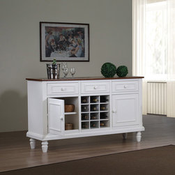 None - Country 2-door Buffet - Complete your living space with this elegant wooden country buffet table. This buffet features two wooden doors,three drawers,and 12 wine cubbies for maximum storage space,and a sleek white finish to match traditional or contemporary decor.