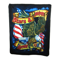 Zeckos - Stars and Stripes Forever Throw Blanket 50 x 60 Eagle - This ultra soft, comfortable and warm polar fleece throw blanket features a eagle with the American flag in the background and a banner reading 'Stars and Stripes Forever'. It measures 60 inches long, 50 inches wide, and is machine washable. It makes a perfect gift for the veteran or biker in your family.
