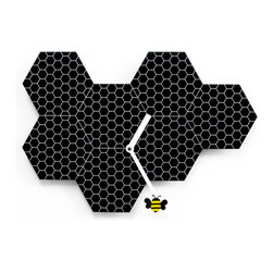 WS Bath Collections - Time2Bee 2260 Black Wall Clock - Fun and colorful wall clock, ideal for children's rooms or for bringing a touch of fun and light heartedness to ones surroundings. Made of steel, Time2bee replicates the shape and design of hives where a yellow and black bee, hung to the minute hand, moves easily between the recesses.