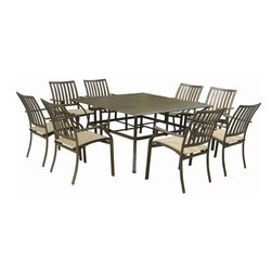 Panama Jack - Panama Jack Island Breeze 9-piece Slatted Dining Group - Panama Jack's Island Breeze nine-piece set incorporates a tubular aluminum frame in a unique powder coated espresso finish that will not rust. This versatile dining set is weather proof and long lasting so you can entertain guests for years to come.