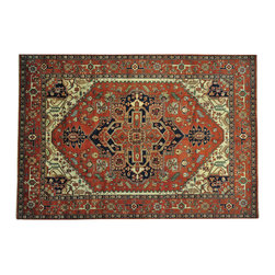 """Oriental Rug Galaxy - 10'0"""" x 14'7"""" Hand Knotted Rust Red Serapi Heriz Oriental Rug 100 Percent Wool - Our Tribal & Geometric hand knotted rug collection, consists of classic rugs woven with geometric patterns based on traditional tribal motifs. You will find Kazak rugs and flat-woven Kilims with centuries-old classic Turkish, Persian, Caucasian and Armenian patterns. The collection also includes the antique, finely-woven Serapi Heriz, the Mamluk, Afghan, and the traditional handmade village Persian rugs."""