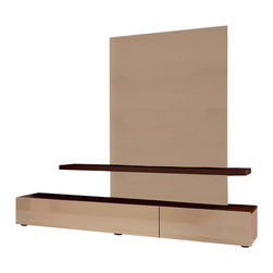 ESF Furniture - Maya Modern Wall Unit in Wenge/Cappuccino Finish - This Entertainment TV Center with lights offers a contemporary look with a clean uncluttered design and functionally multipurpose structure. Crafted from durable wood, wood products and veneers.