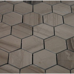 Athens Gray Hexagon Polished Marble Mosaics - SAMPLE - ATHENS GREY HEXAGON 1/4 SHEET SAMPLE You are purchasing a 1/4 sheetsample,withFREE USPS shipping. Samples are intended for color comparison purposes, not installation purposes.-Glass Tiles -