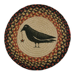 Earth Rugs - CH-919 Crow & Star Round Chair Pad 15.5in. - Crow & Star Round Chair Pad 15.5 in.