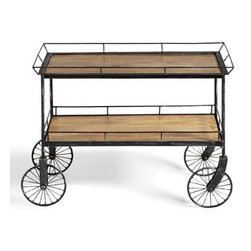 Grandin Road - Trolley Cart Table - Iron-framed table with two large wooden shelves. Metalwork has a black finish. Mango wood shelves. Fixed wheels, so cart stays in place. Arrives assembled. Add our David Bromstad Trolley Cart Table to any space that needs extra shelving or a stylish work surface. Iron wheels have decorative charm when you use this piece as a one-of-a-kind bar cart, serving buffet, or roomy end table. You??ll toast to its handsome good looks and great versatility.  .  .  .  .  . A Grandin Road exclusive.