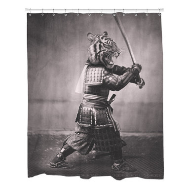 Sharp Shirter - Sharp Shirter Samurai Tiger Shower Curtain - This curtain is printed in USA!. Hooks sold separately. Disclaimer: If you order multiple items, they may ship from separate locations.