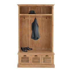 "Benzara - Coat Cabinet with Two Drawers and A Huge Cabinet - Coat Cabinet with Two Drawers and a Huge Cabinet. Elegantly styled, this wood coat cabinet is an excellent addition to your bedroom or living space. It comes with a following dimensions 41"" W x 17"" D x 74"" H."