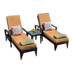 Lakeview Outdoor Designs - Providence 2-Person Resin Wicker Patio Chaise Lounge Set With Arms - The Providence collection balances long lines with sloping angles for a modern approach to outdoor furniture. This 3-piece chaise lounge set comes with 2 chaise lounges that have an adjustable back which allows to choose which angle is most comfortable while you rest your arms on the broad armrests. The square end table provides the perfect place for drinks or resting your book. The chaise lounge includes 4-inch thick canvas camel cushions made with washable, Sunbrella fabric that will not fade in the sun. The top-grade Viro all-weather resin wicker is made using an exclusive technique creating beautiful synthetic fibers that are completely colored throughout and not just on the outside. The superior quality and meticulous construction ensures your furniture will not crack, peel or fade from season to season or in extreme weather conditions (-96 to 176 degrees). The wicker is then hand-wrapped over a hidden, powder-coated and rust-resistant aluminum frame with non-marking, adjustable leveling feet for support and durability. Dimensions (in inches): End Table: 18 W X 18 D X 18 H. Chaise Lounge: 81 1/8 W X 30 11/16 D X 13 3/8 H.