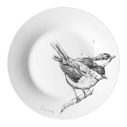 some british birds - cake plate blackcap - ABC Carpet & Home -