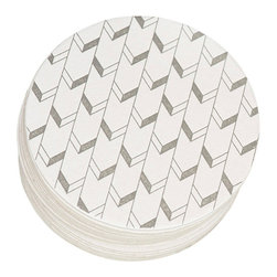 Ruff House Art - Chevron Letterpress Paper Coasters - The Chevron Letterpress Paper Coaster Set is the perfect bar accent for your wedding or bridal shower event. The Chevron Pattern is a great pattern for any event or theme. Give them as a gift for the couple. Use them as favors or bar accents at your wedding. Not getting married, these make a great addition to any home decor as well. Simple, Causal, Trendy. These coasters would mix into any decor perfectly!
