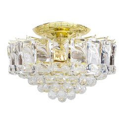 Consigned Mid Century Lucite Ceiling Fixture - Vintage Lucite ceiling fixture with five tiers of faceted baubles below a row of rectangular sculpted blocks resembling ice. The circular brass-plated frame conceals four candelabra bulbs and attaches to the flush mount ceiling plate.