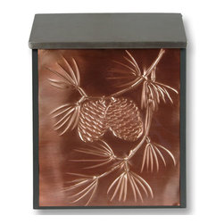 Norwegian Pine Locking Wall-Mount Copper Mailbox - Customize your home's entryway with this beautifully hand-embossed locking wall mount copper mailbox, featuring the Norwegian Pine.
