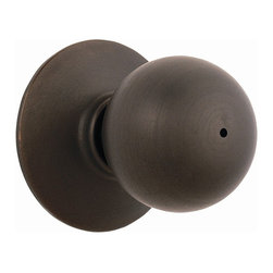 Schlage - Orbit Oil-Rubbed Bronze Bed and Bath Knob - F - Manufacturer SKU: F40 ORB  613. Handle Type: Knob. Use on a 1-3/8 in. to 1-3/4 in. thick door. Triple Option latch fits almost all door preparations. Privacy knob, with push-button lock, for use on an interior bathroom or bedroom door. All-metal working parts for durability. Oil-rubbed bronze finish. Includes hardware for quick installation. ANSI Grade 2. Finish:  Oil Rubbed Bronze. 2.1 in. L x 2.8 in. W x 2.8 in. H (1.1 lbs)
