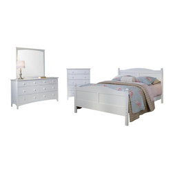 Bolton Furniture - Cottage Queen Bed w Essex Chest & Dresser Set in White Finish - Includes Cottage queen headboard, footboard and side rails, Essex drawer chest and dresser & mirror set. Bed:. Queen size bed. 64 in. L x 85 in. W x 47 in. H. Drawer chest:. 5 Drawers. Features shaker style case pieces. Dovetailed drawers and self-closing under mount glides. Made of solid maple and maple veneers. 36 in. W x 19 in. D x 46 in. H (124 lbs.). Dresser:. 7 Drawers. Features shaker style case pieces. Dovetailed drawers and self-closing under mount glides. Made of solid maple and maple veneers. 60 in. W x 19 in. D x 34 in. H (185 lbs.). Mirror:. Landscape frame. Features shaker style case pieces. Dovetailed drawers and self-closing under mount glides. Made of solid maple and maple veneers. 43 in. W x 40 in. H. White finish. Assembly required. 1-Year warranty