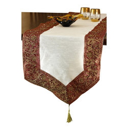 Banarsi Designs - Cherry Vanilla Glamorous Border Table Runner - Dress your table in rich fall colors. This gorgeous, hand-embroidered table runner will add a touch of warmth and sophistication to any holiday feast or family gathering.