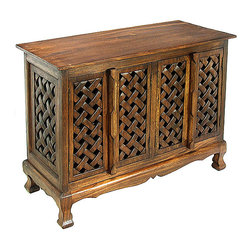 None - Lattice Design Storage Cabinet/ Sideboard Buffet - Add a touch of delicate beauty to your home decor with an intricately carved four-door cabinetHandcrafted dining furniture features acacia wood constructionBuffet table showcases hand-carved lattice-weave pattern on the doors and side panels
