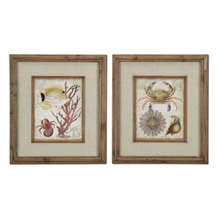 Uttermost - Tropical Waters Framed Art Set of 2 - The Frames Feature A Unique, Reclaimed Wood Look With Medium Brown Undertones, Dark Brown Wash And A Light Taupe Glaze. Prints Are Accented By Textured, Beige Linen Mats And Are Under Glass.
